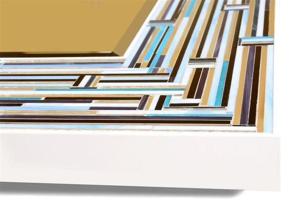 Barbarella Blue PIAGGI Modern Glass Mosaic Mirror image 10