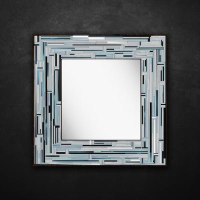 Barbarella Blue PIAGGI Modern Glass Mosaic Mirror image 11