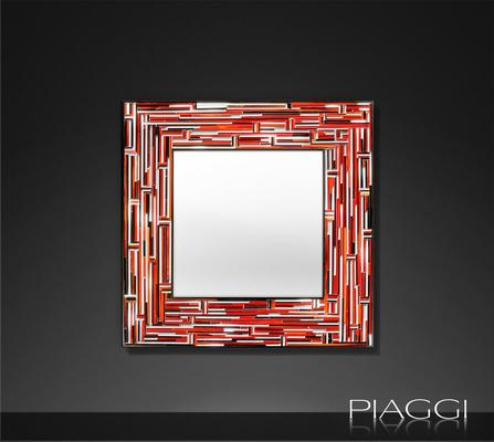 Barbarella Red PIAGGI Modern Glass Mosaic Mirror image 2
