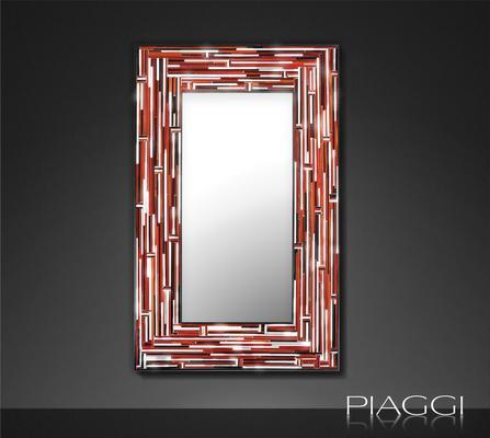 Barbarella Red PIAGGI Modern Glass Mosaic Mirror image 3