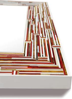 Barbarella Red PIAGGI Modern Glass Mosaic Mirror image 4