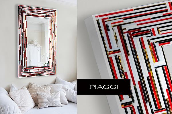 Barbarella Red PIAGGI Modern Glass Mosaic Mirror image 7