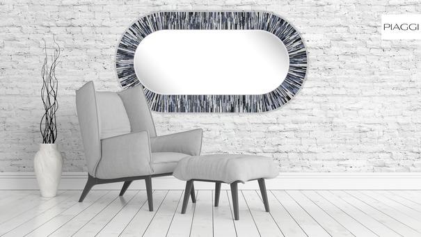 Stadium PIAGGI grey glass mosaic mirror image 5
