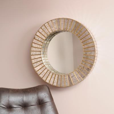 Aurora Antique Silver & Gold Mercury Glass Round Mirror image 3