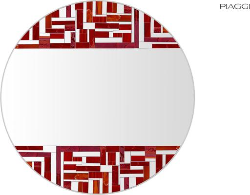 Abstract Double Red Mosaic Mirror image 6