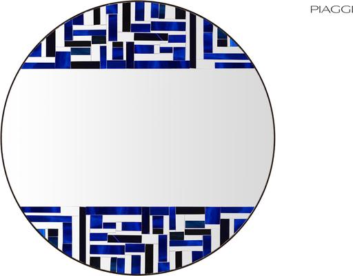 Abstract Double Blue Mosaic Mirror image 2