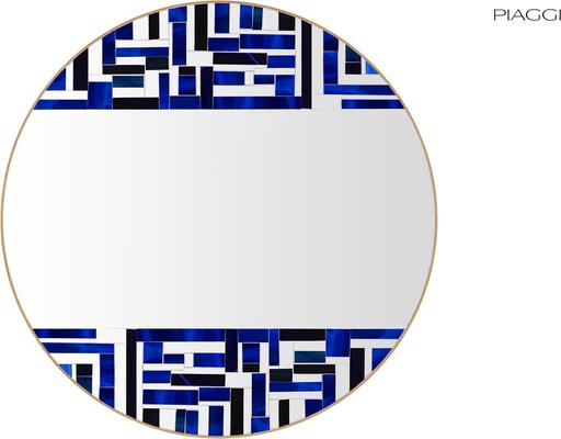 Abstract Double Blue Mosaic Mirror image 4