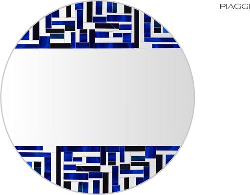 Abstract Double Blue Mosaic Mirror image 6