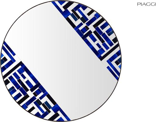 Abstract Double Rotated Blue Mosaic Mirror image 2