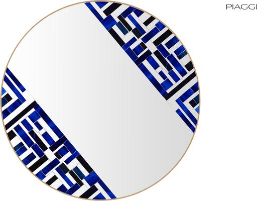 Abstract Double Rotated Blue Mosaic Mirror image 3