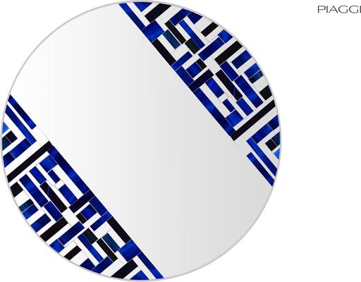 Abstract Double Rotated Blue Mosaic Mirror image 4