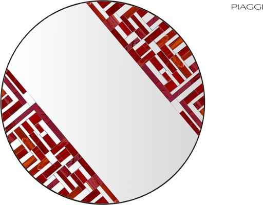 Abstract Double Rotated Red Mosaic Mirror image 2