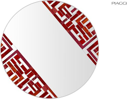 Abstract Double Rotated Red Mosaic Mirror image 3