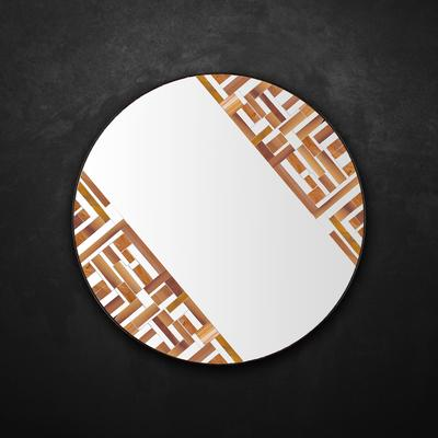 Abstract Double Rotated Beige Mosaic Mirror