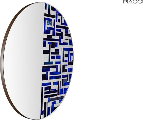 Abstract Half Blue Mosaic Mirror image 3