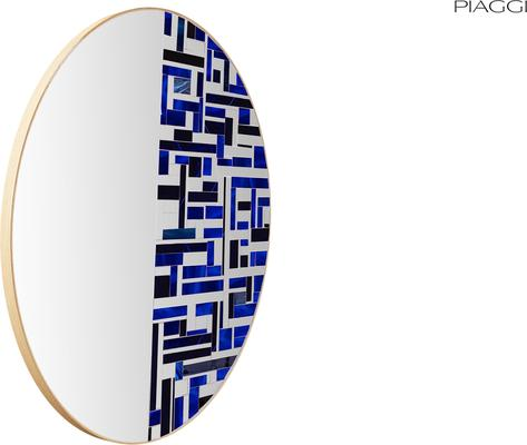 Abstract Half Blue Mosaic Mirror image 5