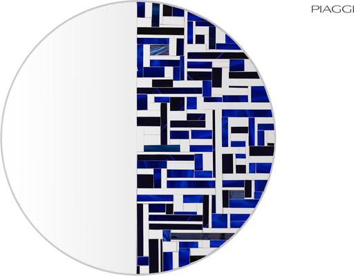 Abstract Half Blue Mosaic Mirror image 6