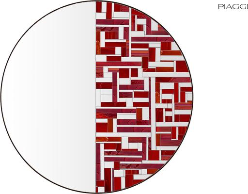 Abstract Half Red Mosaic Mirror image 2