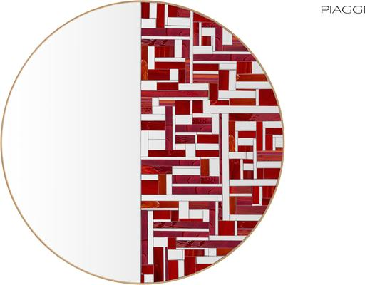 Abstract Half Red Mosaic Mirror image 4