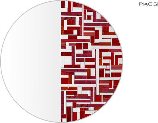 Abstract Half Red Mosaic Mirror image 6