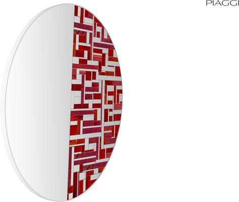 Abstract Half Red Mosaic Mirror image 7