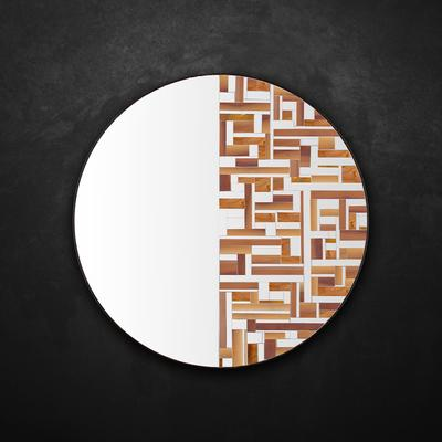Abstract Half Beige Mosaic Mirror