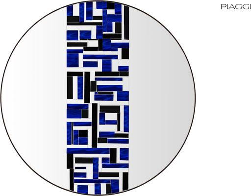 Abstract Single Blue Mosaic Mirror image 2