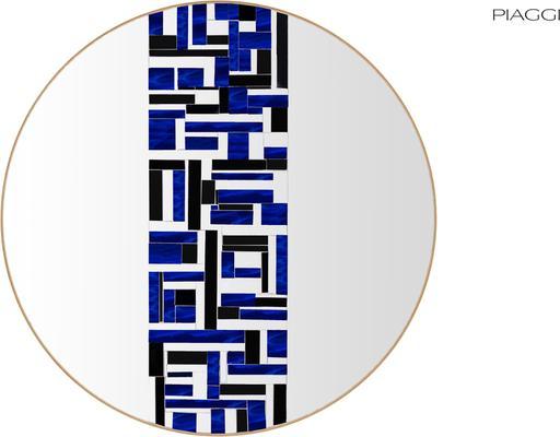 Abstract Single Blue Mosaic Mirror image 4