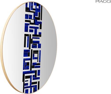 Abstract Single Blue Mosaic Mirror image 5