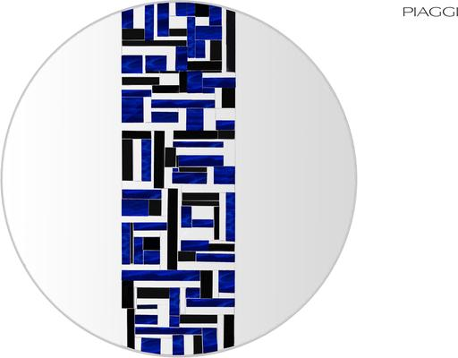 Abstract Single Blue Mosaic Mirror image 6