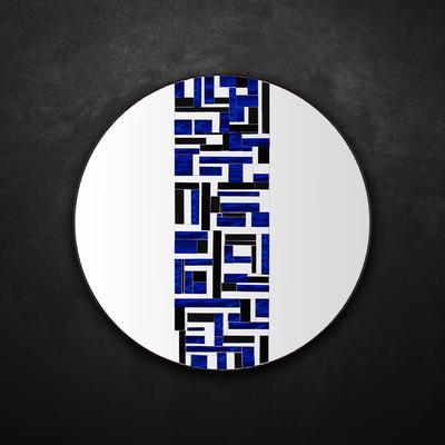 Abstract Single Blue Mosaic Mirror