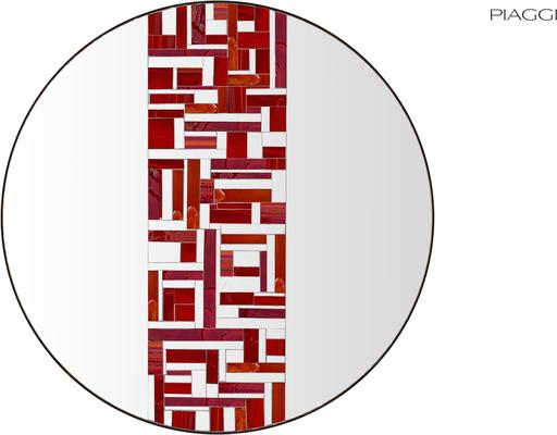 Abstract Single Red Mosaic Mirror image 2
