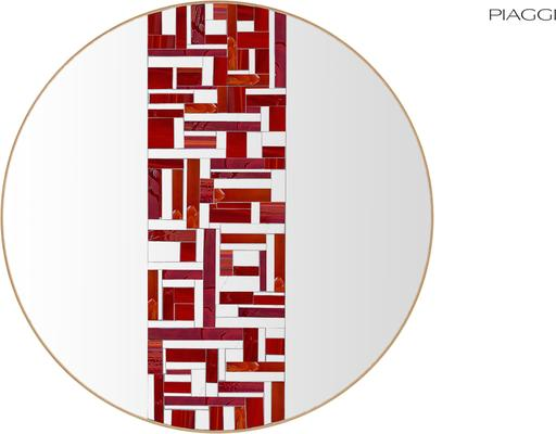 Abstract Single Red Mosaic Mirror image 4