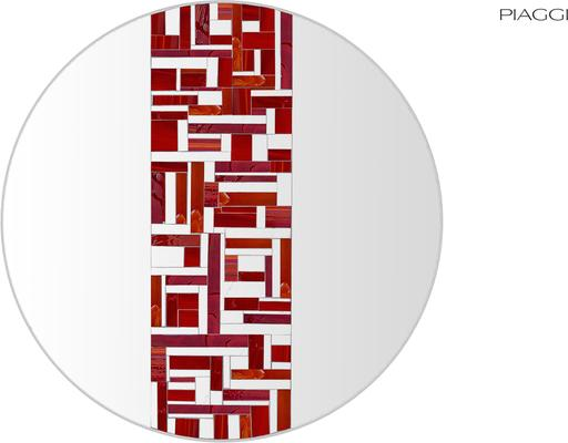 Abstract Single Red Mosaic Mirror image 6