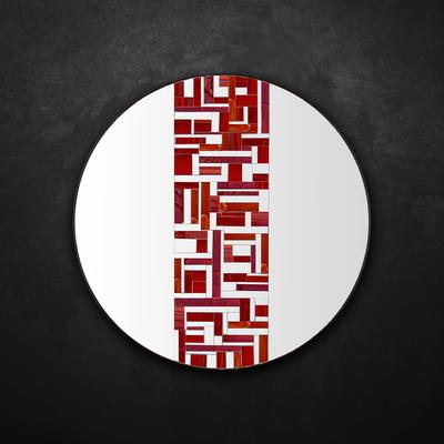 Abstract Single Red Mosaic Mirror