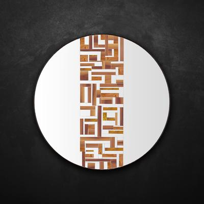Abstract Single Beige Mosaic Mirror
