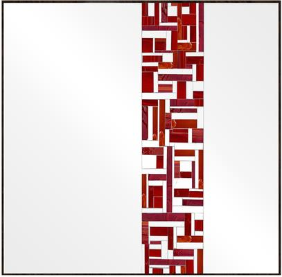 Abstract Square Single Red Mosaic Mirror