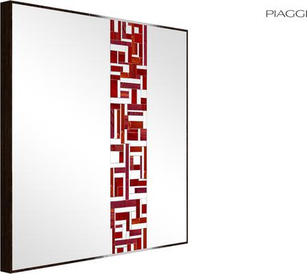 Abstract Square Single Red Mosaic Mirror image 2