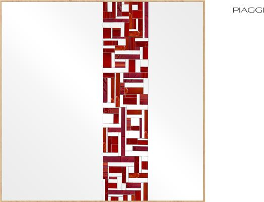Abstract Square Single Red Mosaic Mirror image 3
