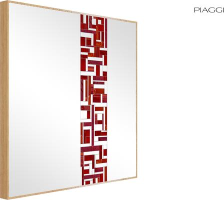Abstract Square Single Red Mosaic Mirror image 4