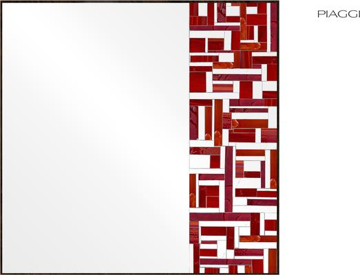 Abstract Square Single Red Mosaic Mirror image 11