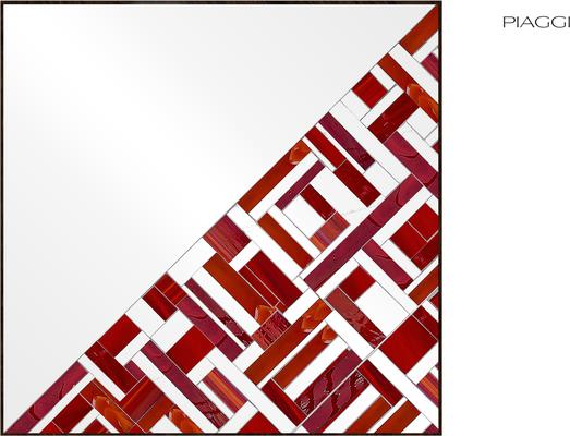 Abstract Square Single Red Mosaic Mirror image 12