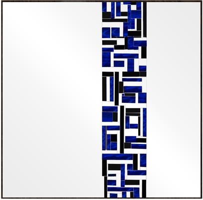 Abstract Square Single Blue Mosaic Mirror