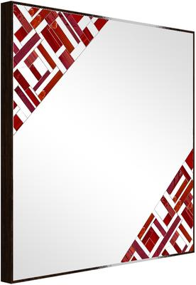 Abstract Square Double Red Mosaic Mirror