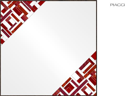 Abstract Square Double Red Mosaic Mirror image 2