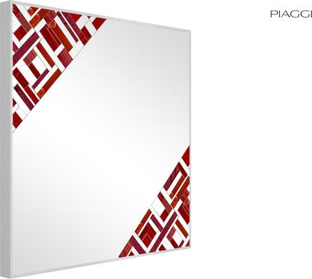 Abstract Square Double Red Mosaic Mirror image 3