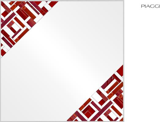 Abstract Square Double Red Mosaic Mirror image 4