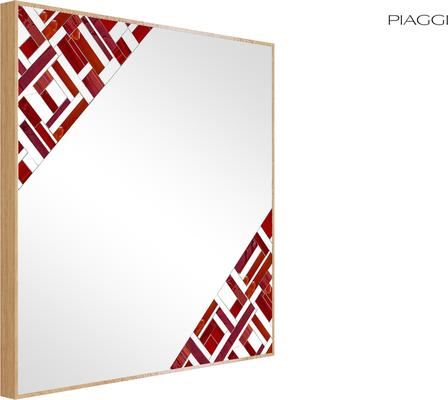 Abstract Square Double Red Mosaic Mirror image 5