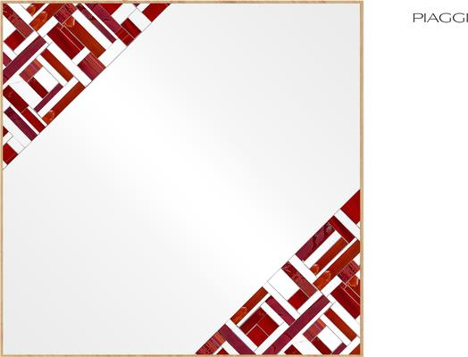 Abstract Square Double Red Mosaic Mirror image 6