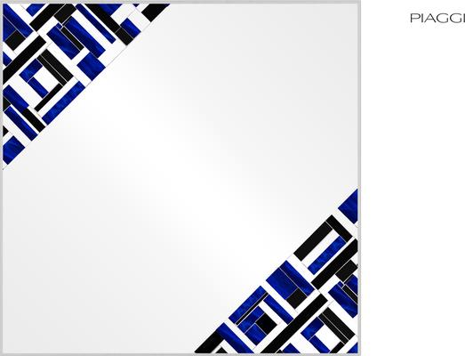 Abstract Square Double Blue Mosaic Mirror image 2